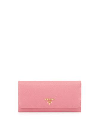 Saffiano Continental Flap Wallet, Pink (Geranio)