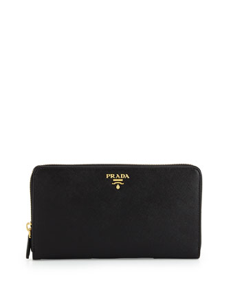 Textured Leather Travel Wallet, Black (Nero)