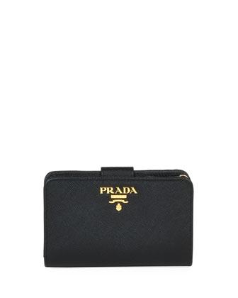 Saffiano Triangle Bi-Fold Tab Wallet, Black (Nero)
