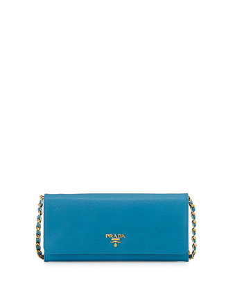 Saffiano Wallet on Chain, Turquoise (Celeste)