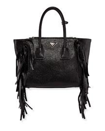 Glace Calf Twin Pocket Tote Bag, Black (Nero)