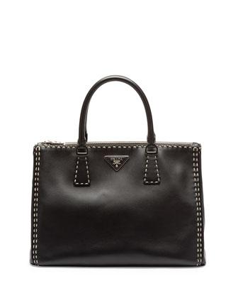 City Calf Double-Zip Executive Tote Bag, Black/White (Nero/Bianco)