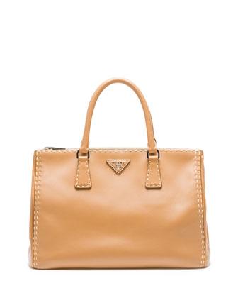 City Calf Double-Zip Executive Tote Bag, Camel/White (Caramel/Bianco)