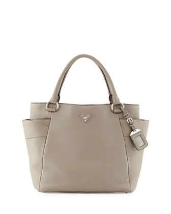 Daino Side-Pocket Tote Bag, Light Gray (Argilla)