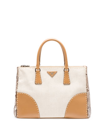 Canvas Tote Bag with Python & City Calf Trim, Natural (Naturale)