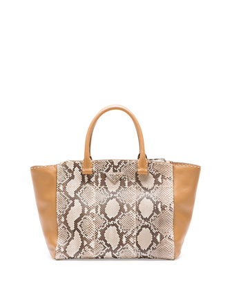 Python/Calfskin Tote Bag, Natural Multi (Roccia)