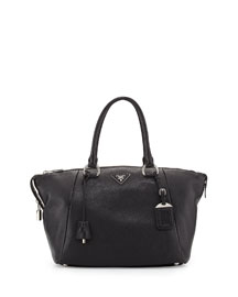 Vitello Daino Satchel Bag, Black (Nero)