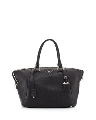 Vitello Daino Satchel Bag, Black (Nero)