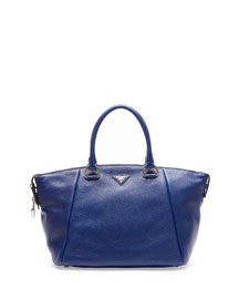Vitello Daino Satchel Bag, Navy