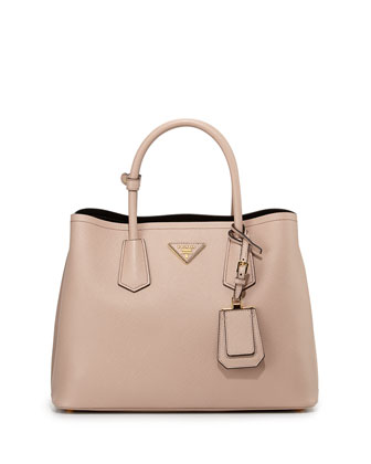 Saffiano Cuir Small Double Bag, Blush (Cammeo)