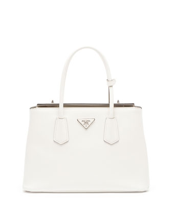 Saffiano Medium Cuir Double Bag, White (Talco)