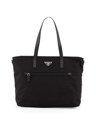 Vela Zip-Front Tote Bag, Black (Nero)