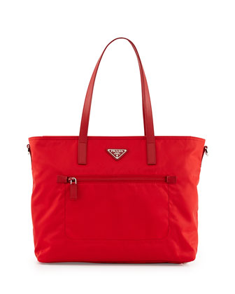 Vela Zip-Front Tote Bag, Red (Rosso)