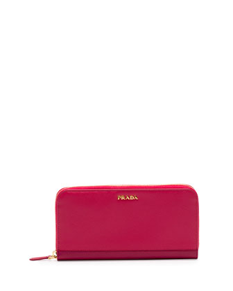 Saffiano Double Bicolor Wallet, Pink/Dark Pink (Peonia+Bisco)