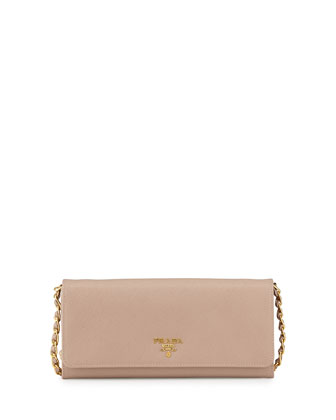 Saffiano Wallet on Chain, Blush (Cammeo)