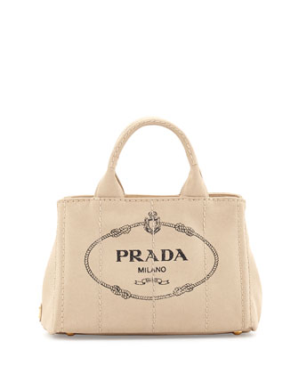 Canvas Mini Logo Tote with Strap, White (Corda)