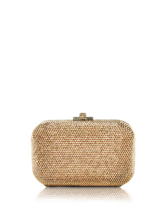 Crystal Slide-Lock Clutch Bag, Rose Gold