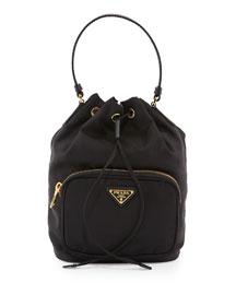 Tessuto Mini Bucket Crossbody Bag, Black (Nero)