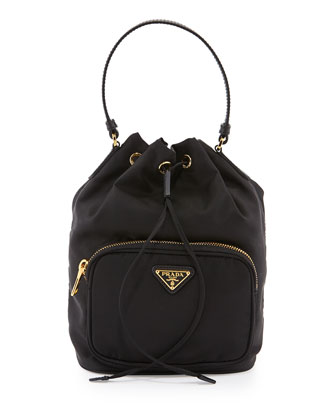 Tessuto Mini Bucket Crossbody Bag, Black (Nero)