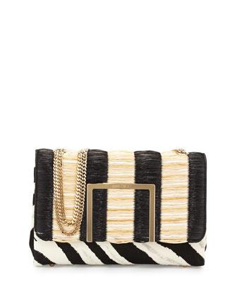 Alba Raffia/Calf Hair Shoulder Bag
