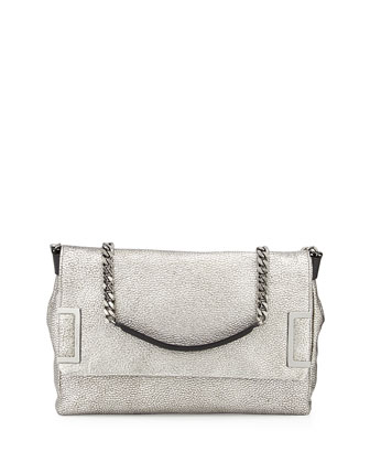 Ally Flap Shoulder Bag, Silver