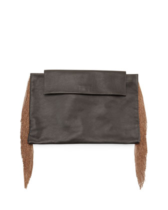 Monili Large Fringe Clutch Bag, Black