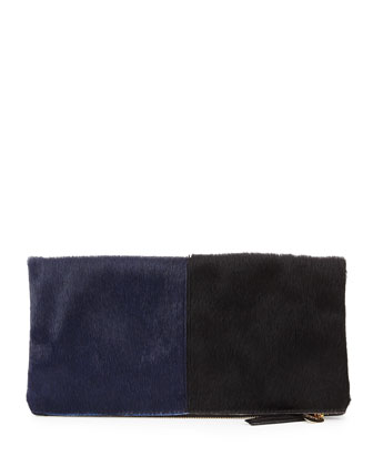 Supreme Bicolor Calf Hair Fold-Over Clutch Bag, Navy/Black