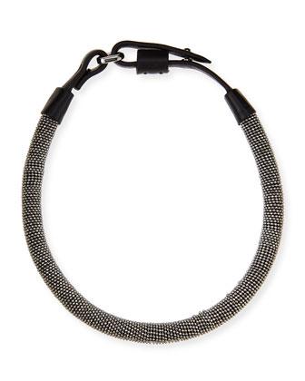 Monili Chain-Wrapped Necklace, Silver/Black
