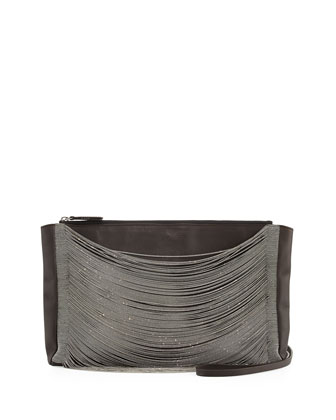 East-West Matte Leather Monili-Draped Crossbody Bag, Dark Gray