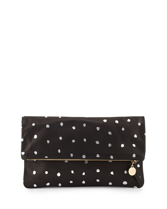 Supreme Dotted Fold-Over Clutch Bag, Black/Silver