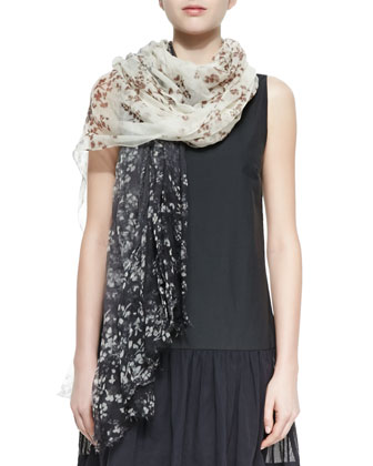 Boiled Cashmere Floral-Print Scarf, Charcoal/Vanilla