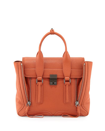 Pashli Medium Zip Satchel Bag, Persimmon
