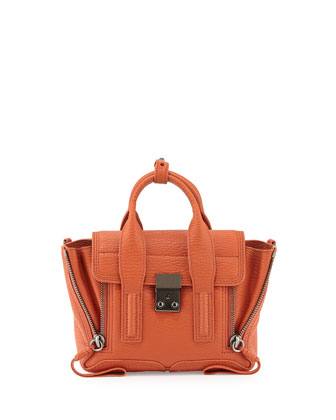 Pashli Mini Leather Satchel Bag, Persimmon
