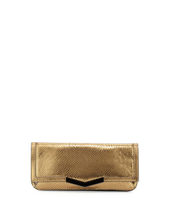 Gya Snake-Embossed Metallic Clutch Bag