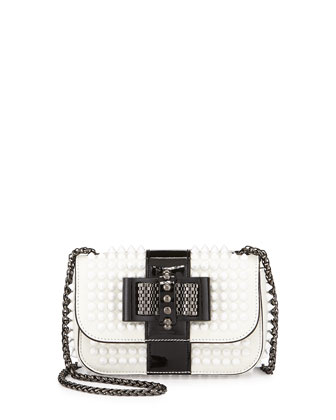 Sweety Charity Spiked Bicolor Crossbody Bag, White/Black
