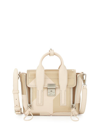 Pashli Mini Leather Satchel Bag, Powder Champagne
