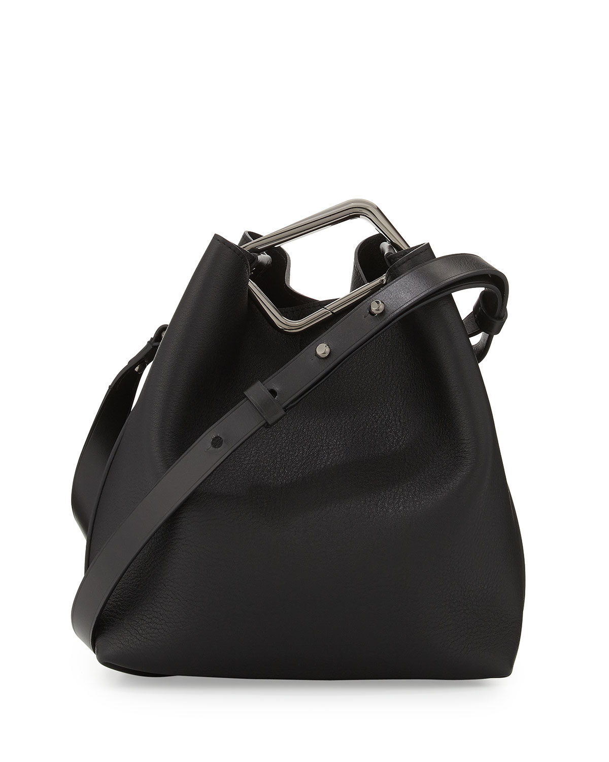 Quill Mini Bucket Bag, Black