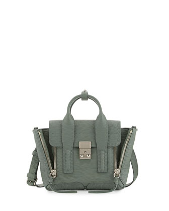 Pashli Mini Leather Satchel Bag, Agave