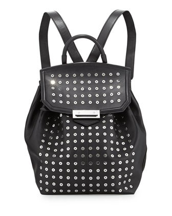 Prisma Studded Leather Backpack, Black