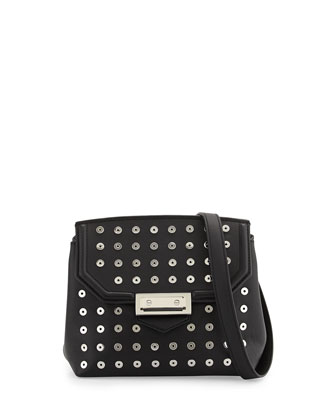 Marion Leather Crossbody Bag w/Eyelets, Black