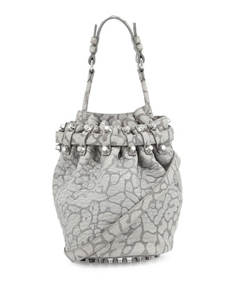 Diego Laser-Cut Pebbled Drawstring Bag, Light Concrete