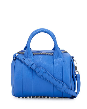 Rocco Pebbled Leather Satchel Bag, Air Force