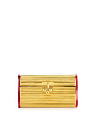 Dani Metal Blacklit Clutch Bag, Gold/Red