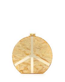 Oscar Small Acrylic Peace Clutch, Gold Pearl