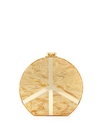 Oscar Small Acrylic Peace Clutch, Gold Pearl