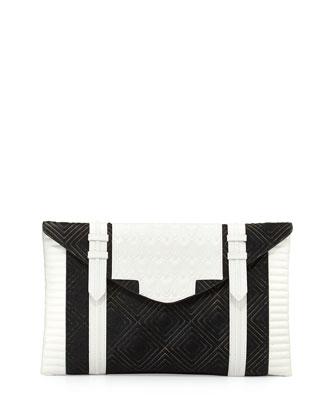Bowery Oversized Diamond Calf Hair Clutch Bag, Black/Bone
