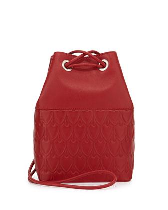 Bowery Small Leather Bucket Bag, Chili