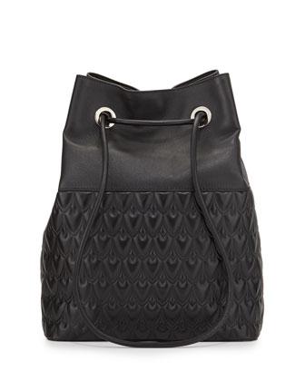 Bowery Large Leather Bucket Bag, Black