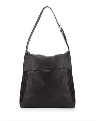 Bowery Flap Hobo Bag, Black