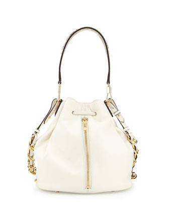 Cynnie Leather and Python Printed Bucket Bag, Ivory